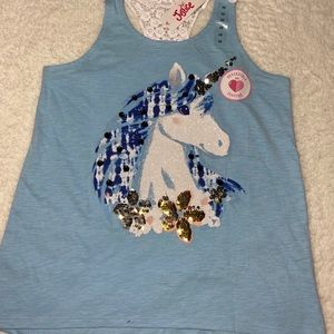 Baby blue unicorn justice tank top
